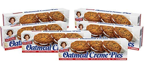 Little Debbie Oatmeal Creme Pies, 72 Soft Oatmeal Cookies with Creme (6 Boxes)