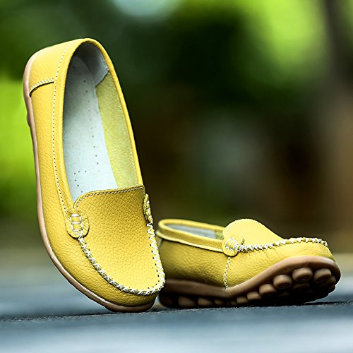 Slip Green Scien Leather Genuine Flat on A Moccasins Driving Women's Loafers Casual Shoes qxq07Z