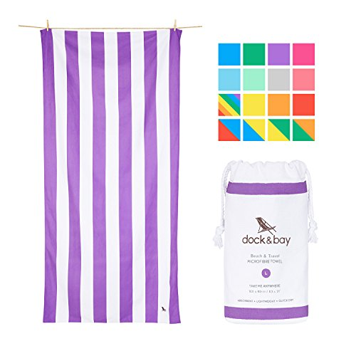 Dock & Bay Microfiber Towel Travel Backpacking Gear - Purple, Large 63x31 - compact beach towel, sand proof towel