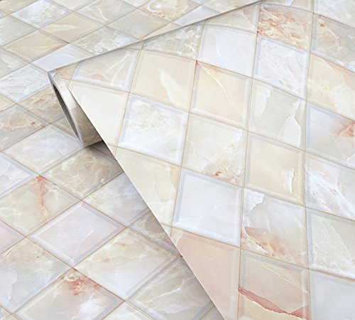 BESTERY Self Adhesive Backsplash Tiles Marble Gloss Vinyl Film Kitchen Contact Paper Peel Stick Wallpaper Decal 24inx79in Roll by BESTERY