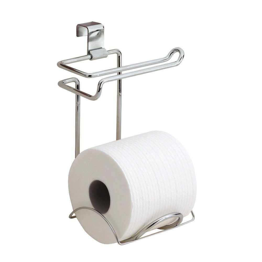 amazoncom interdesign classico bathroom over tank toilet paper holder double roll tissue paper storage chrome interdesign home kitchen - Bathroom Accessories Toilet Paper Holders