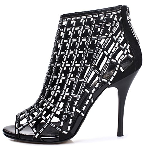 great deals sale online 2015 new cheap online Littleboutique Embellished Cutout High Heel Bootie Rhinestone Studded Sandal Heels Dress Sandal Black1 discount outlet discount 100% guaranteed free shipping prices 3BFnM7