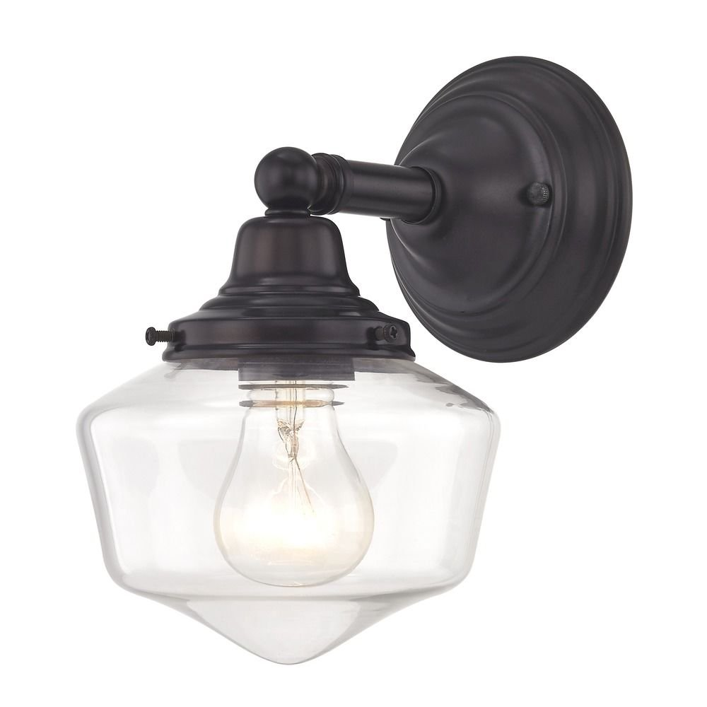 Clear Glass Schoolhouse Sconce Bronze 1 Light 6 Inch Width