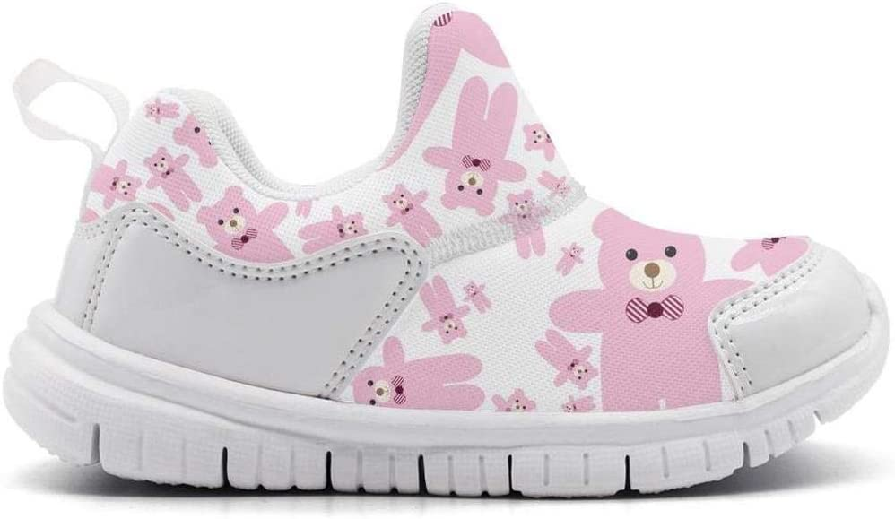 ONEYUAN Children Giant Teddy Bear Pink Kid Casual Lightweight Sport Shoes Sneakers Walking Athletic Shoes