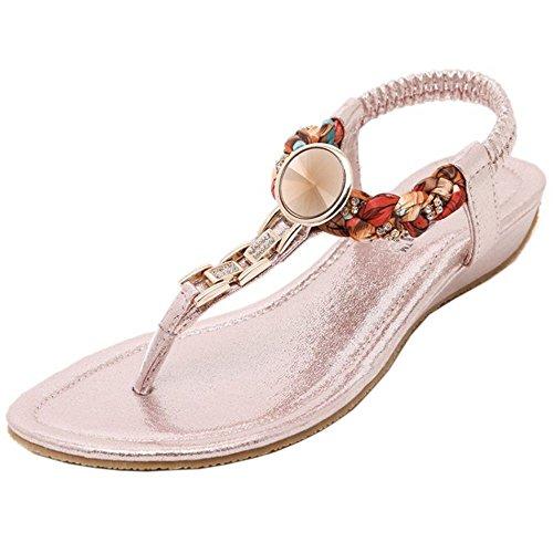 COOLCEPT Mujer Moda Correa de Tobillo Correa Bajo Tacon de Cuna Slingback Chancla Zapatos Rosado