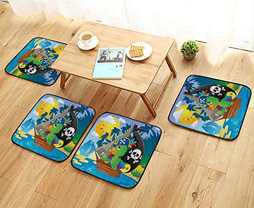 (Printsonne Elastic Cushions Chairs Pirate Parrot Themed Boat Danger Skull Crosss Hat Sun Comic Carto for Living Rooms W29.5 x L29.5/4PCS Set)