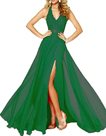 AnKang Elegant V-Neck Side Slit Chiffon Party Special Occasion Formal Evening Prom Dress (