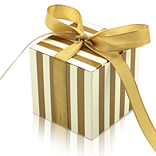 KPOSIYA 70 Pack Candy Boxes Gold and White Striped Favor Boxes 2 x 2 x 2 inch Small Gift Boxes with Ribbons for Wedding Favors Party Bridal Shower Favors (Gold -
