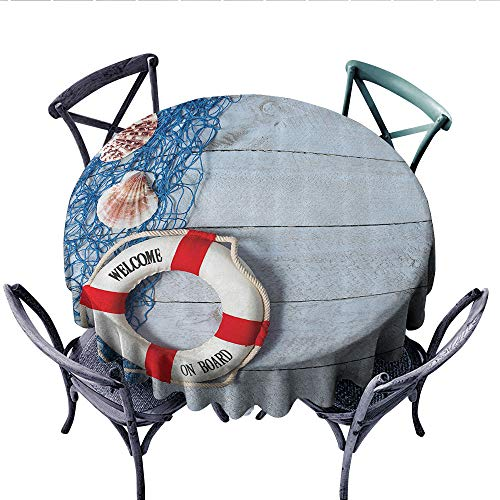 Buoy Decor Printed Circle Tablecloth Welcome On Board Message On Lifebuoy with Fishing Net Seashell Wood Floor of Boat Stain Resistant Wrinkle Tablecloth (Round, 70 Inch,) ()