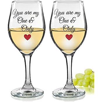 Amazon.com | Wine Glasses - Set of 2 Decorative Wine ...