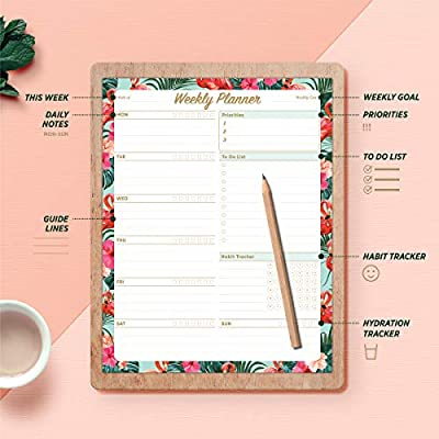 20cm X 25.5cm Flower Pattern Undated Planning System with Priorities Memo Oriday Weekly Planners Premium Task Organizer Pad 52 Sheets to-do List