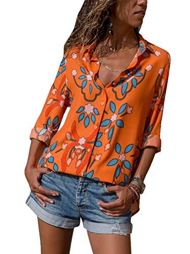 Nou Chemisier Imprim Longue Orange Manche Tops V Mode t Col Automne Minetom Classique Femme Casual Avant Blouse Chic Chemise Boutonn wI8SxwXAFq