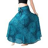 Fashion Women Asymmetrical Bohemian Beachwear Summer Casual Long Dress Elastic Waist Floral Halter Skirt (Blue, S)
