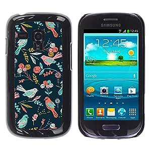 Be Good Phone Accessory // Dura Cáscara cubierta Protectora Caso Carcasa Funda de Protección para Samsung Galaxy S3 MINI NOT REGULAR! I8190 I8190N // Teal Pink Green Flowers Pattern