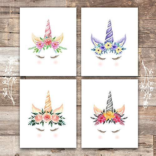 Unicorn Wall Art Prints (Set of 4) - Unframed - 8x10s | Girls Room Decor