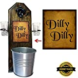 Cheap Deluxe Dilly Dilly Shot Glass Holder with 2 Shot Glasses, Bottle Opener and Cap Catcher – Handcrafted by a Vet – Made of Solid Pine, Over a Foot Tall! 15 1/2 Inches! Great Gift! (for your beer!)