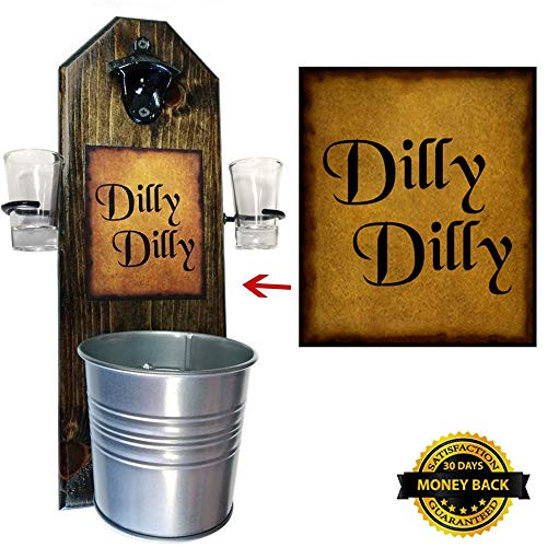 Deluxe Dilly Dilly Shot Glass Holder with 2 Shot Glasses, Bottle Opener and Cap Catcher - Handcrafted by a Vet - Made of Solid Pine, Over a Foot Tall! 15 1/2 Inches! Great Gift! (for your beer!)
