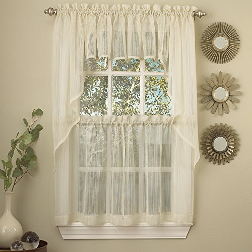Ivory Swag - Sweet Home Collection 5 Pc Kitchen Curtain Valance Swag Choice of 24