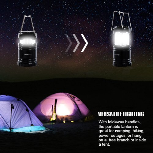 LAVAVIDA LED Camping Lantern - 2 Pack Safety Lamp Light for Emergency, Hiking, Fishing, Blackouts, Hurricanes, Storms - Portable, Collapsible, Water Resistant - Ultra Bright Flashlight - Black by LAVAVIDA (Image #4)