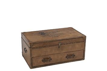 check-out e4e17 dc10d J-line - Coffre vintage avec tiroir en cuir et bois: Amazon ...