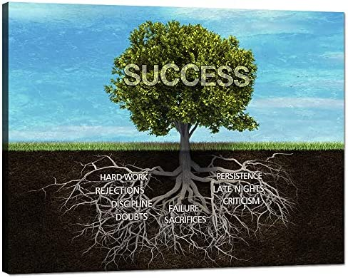 Modern Vintage Office Inspirational Canvas Prints Wall Art Success Tree Motivational Teamwork Posters and Print