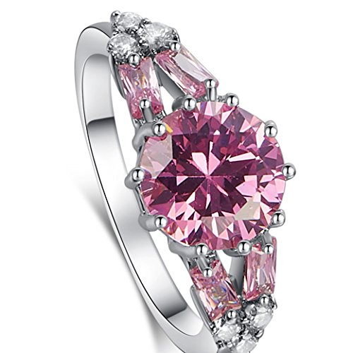 Narica Womens Fashion Simple 9mm Round Cut Pink Topaz CZ Engagement Ring Band (Topaz Ring Engagement Genuine)