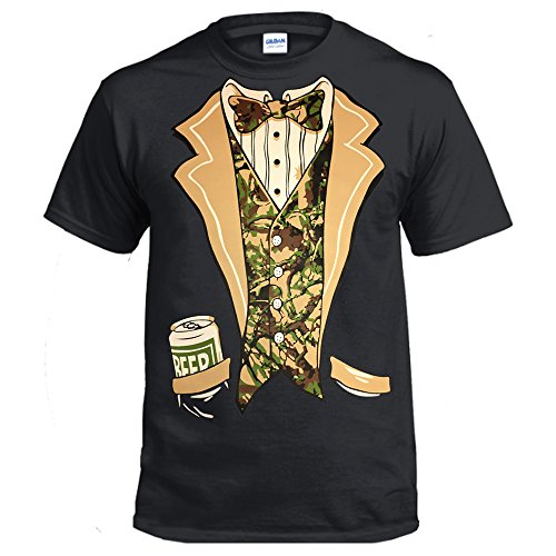 Camo Tuxedo with Bowtie and Beer Can T-shirt Funny Shirts (Large, Black)