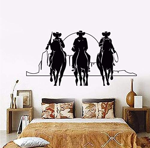 Home Decor Vinyl Wall Decal Western Cowboys Wall Sticker Removable Horses Sunset Movie Cinema Stickers Home Decor Mural 57x28cm Amazon Co Uk Baby