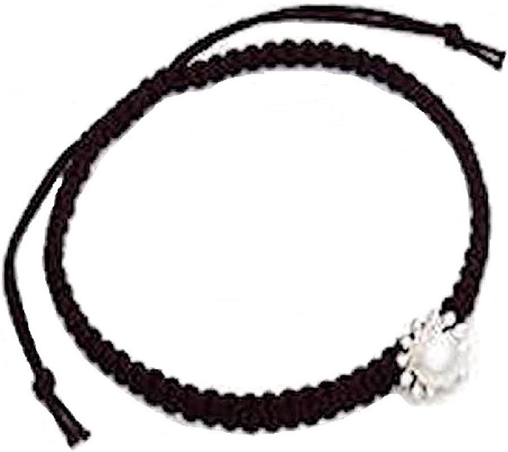 DUR: pulsera de tela negra con colgante de sol y perla real, plata de ley (925)