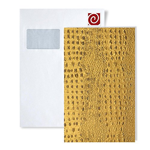 (1 Sample Piece S-14300 WallFace Croco ORO Leather Collection | Sample of Decorative Panel in DIN A4 Size)