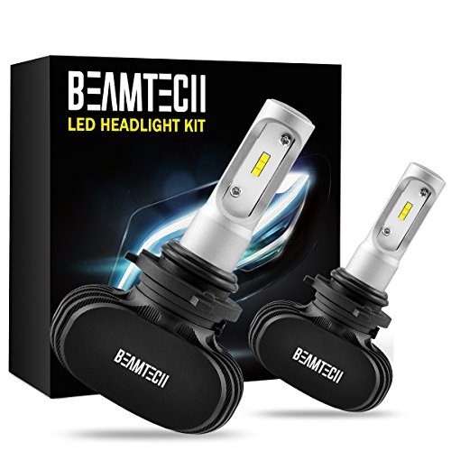 (BEAMTECH 9006 LED Headlight Bulb, 50W 6500K 8000Lumens Extremely Brigh HB4 CSP Chips Conversion Kit)