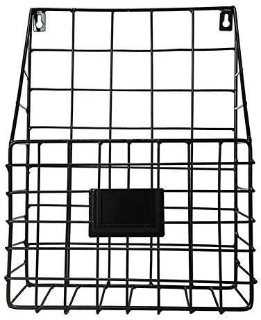 Yongan De Pared Revista Estante Almacenamiento Cesta, Periódico Pared Store, Soporte Hierro Forjado Pared Estante para Oficina Sala de Estar Dormitorio - Negro, Free Size