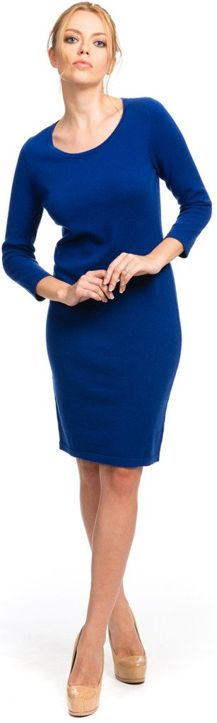 Scoop Neck Dress - 100% Cashmere - Citizen Cashmere (Blue, M) 35 221-20-02 by Citizen Cashmere
