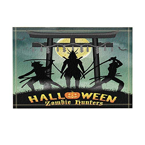 Jugbasee Halloween Decor Samurai Zombie Hunter with Japan Style Temple Gate Bath Rugs Non-Slip Doormat Floor Entryways Indoor Front Door Mat Kids Bath Mat 15.7X23.6In Bathroom Accessories]()