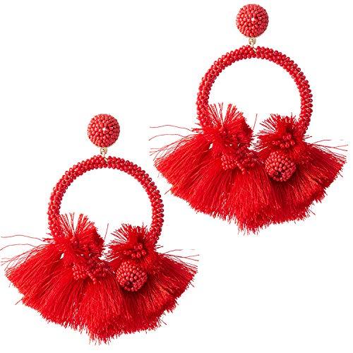 Red Beaded Fringe Earrings Hoop Tassel Earrings Fringe For Women Fashion Statement Bohemian Large Fanned Earrings Big Layered Hanging Silk Thread Boho Tassel Fringe Earrings For Gift
