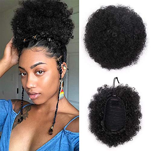- High Puff Afro Curly Wig Ponytail Drawstring Short Afro Kinky Pony Tail Clip in on Synthetic Curly Hair Bun Made of Kanekalon (1B)