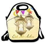 Muslim Holiday Eid Al-Adha Lslamic Culture Thick Insulated Thermal Lunch Bag Waterproof Outdoor Travel Picnic Carry Case Lunch Handbags Tote With Zipper Reusable