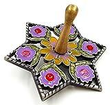Hanukkah DREIDEL Chanukkah Sevivon With Crystals & Lilac Enamel Flowers Spinning Top Game From Israel