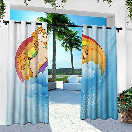 leinuoyi Unicorn, Outdoor Curtain Ends, Handsome Unicorn with Single Horn on Forehead on Sun Fluffy Clouds Artwork Print, Fabric W96 x L108 Inch Multicolor