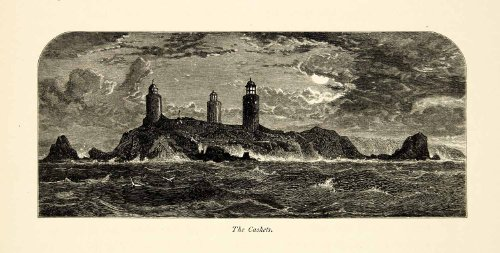 1877 Wood Engraving English Channel Islands Caskets Rocks Lighthouse Europe Sea - Original In-Text Wood - English Tri In