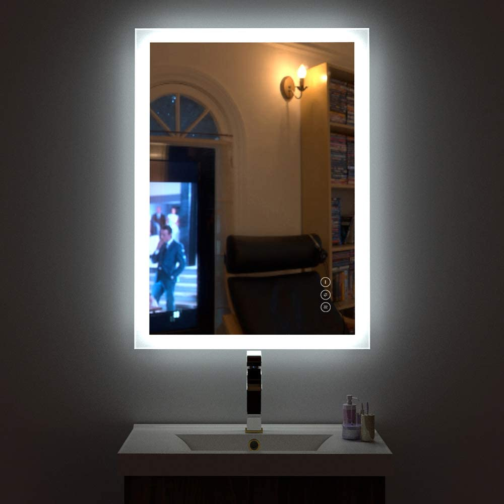 HAUSCHEN 32x24 inch LED Lighted Bathroom Wall Mounted Mirror with High Lumen+CRI 95 Adjustable Color Temperature+Anti-Fog Separately Control+Dimmer Function+IP44 Waterproof+Vertical /& Horizontal