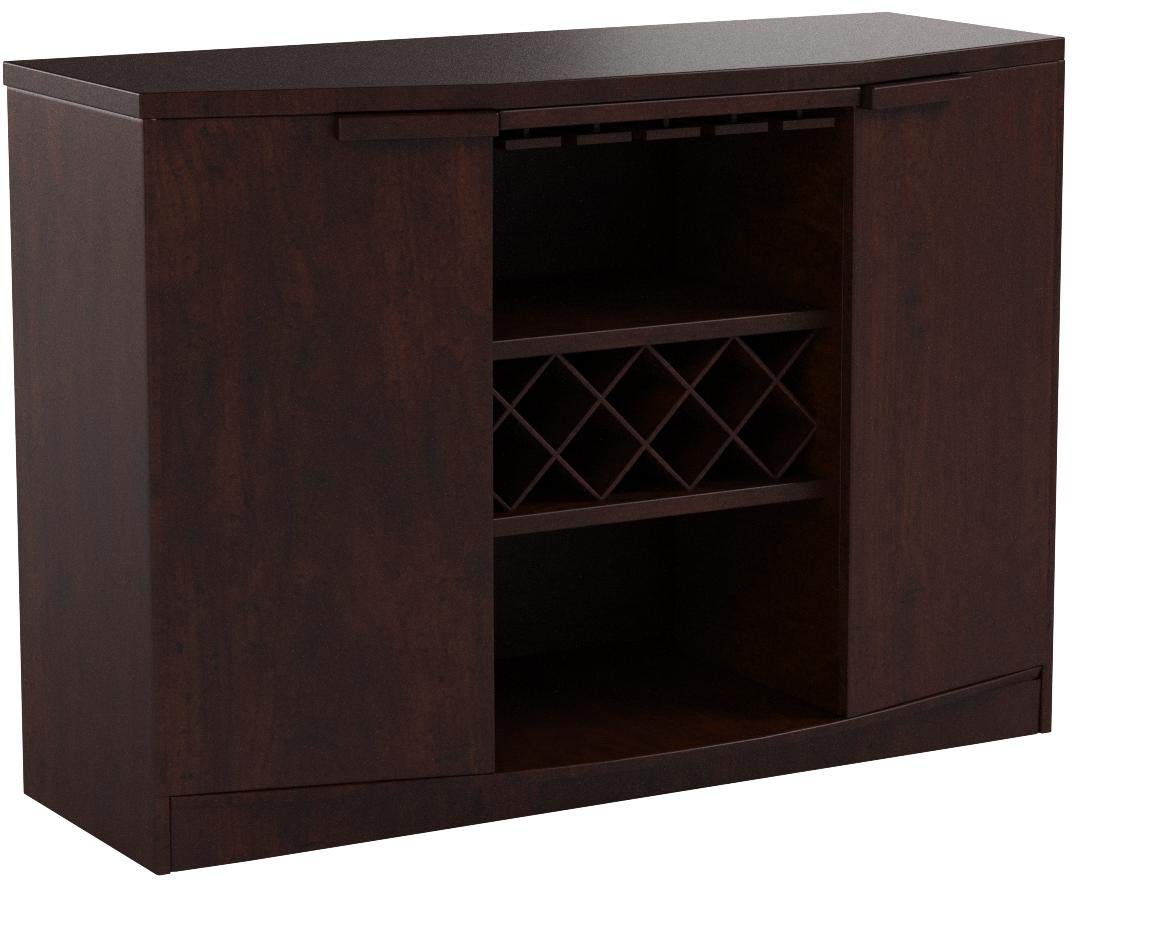 Wine BAR Buffet and Storage Cabinet with Center Glass and Wine Rack, Side Shelves, and Open Focal Point Shelf (Walnut) by Furniture of America