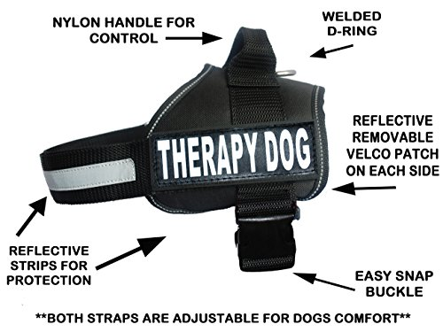 Therapy Dog Harness Service Working Vest Jacket Removable Velcro Patches,Purchase Comes 2 Therapy Dog Reflective pathces. Please Measure Dog Before Ordering. (Girth 19-25