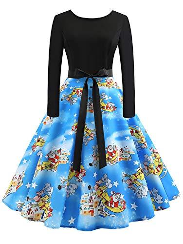 KCatsy Vintage Long Sleeves Printed Pin Up Dress Women