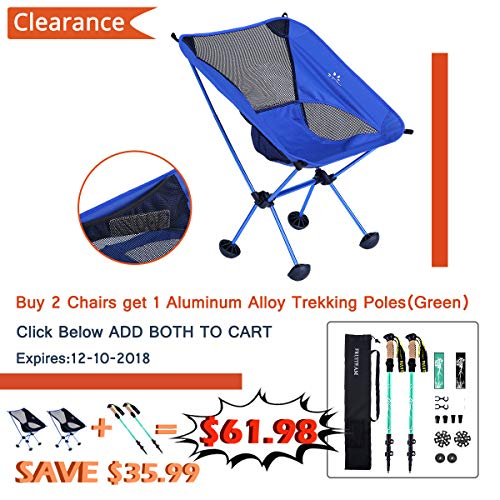 FRUITEAM Camping Chairs Folding Hiking Picnic Portable Camp Chair with Carry Bag for Backpacking Outdoors Sporting (Blue)