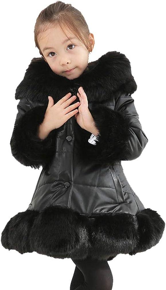 Mxssi Ragazza Cappotto Lungo Collo di Pelliccia Calda Finta Giacca del Mantello Piumino Tasca Piumino Tinta Unita Pulsante Soprabito Cappotto Autunno Inverno