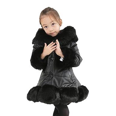 c8f53d4a501a5 Toddler Girls Casual Fluffy Pure Couleur Manteau À Capuche Enfants Hiver  Plus-Size Poche Veste