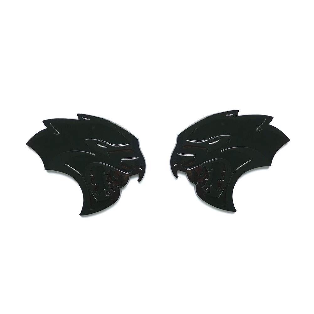 2pcs OEM Hellcat Fender Emblems Badges Left Right 3D Logo Replacement for Chrysler Challenger Charger SRT Black