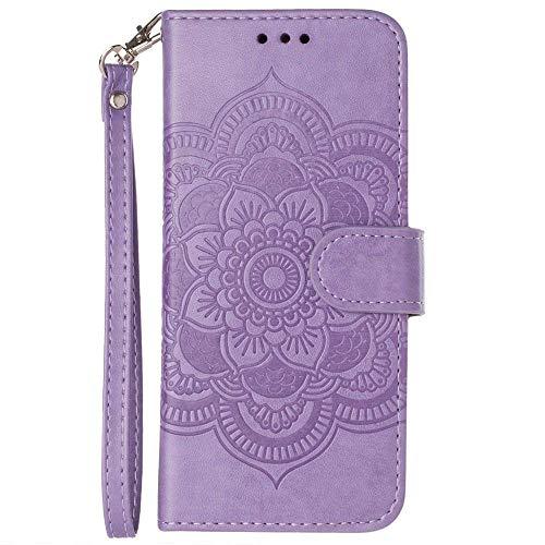 Case Lavender Protector Shield - iPhone 8 Plus Wallet Case, iPhone 7 Plus Case, Slim Vegan Leather Kickstand Cover with Credit Card Holder RFID Blocking Wristlet for Women [Mandala Multi-Card - Lavender]