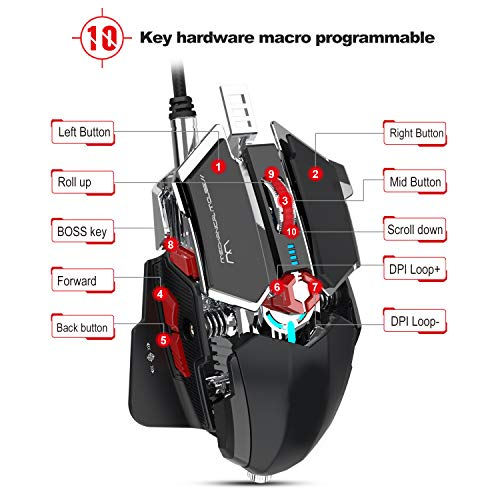 Gaming Mouse Mechanical Eating Chicken 10 Key Programmable Wired LED 4000DPI Ergonomics Compatible Laptop PC,A